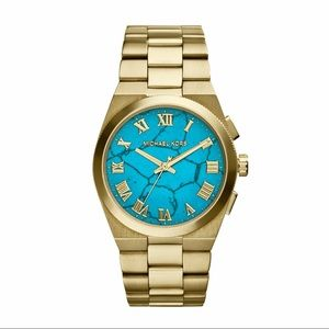 Michael Kors gold/turquoise watch